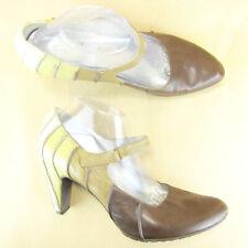 "Tsubo Cone Heel 4"" Mary Jane Pointy Toe US 11 EU 41 Leather Brown Tan"