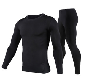 For Men's Fleece Lining Thermal Underwear Set Motorcycle Ski Base Sport Layer Wi