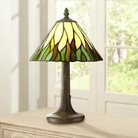 "Tiffany Style Accent Table Lamp 14 1/2"" Brown Tree Stained Glass for Bedroom"