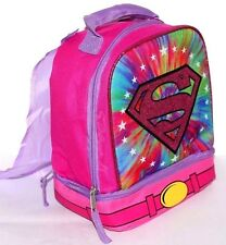 SUPER GIRL 2 COMPARTMENT LUNCH BAG BOX W/ DETACHABLE CAPE GIRLS PINK INSULATED