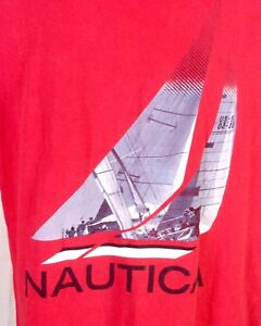 vtg 90s euc Nautica Spell Out Logo Sailing T-Shirt Sailboat graphics sz M