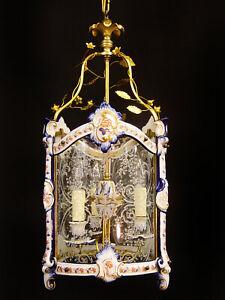 venezianische Laterne Kronleuchter Deckenlampe Messing Porzellan restauriert