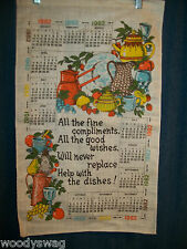 Vintage Calendar 1982 Tea Garden Party Dishes Linen Quilt Craft Free USA Ship