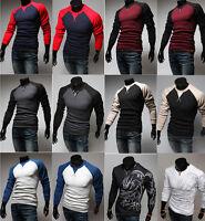 Cool Men's Casual Slim Fit Tattoo & Raglan Crewneck Long Sleeve T-Shirt Tee Tops