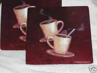 Coffee Java Joe Cafe Cup COUNTER MAT HOT PAD TRIVET SET