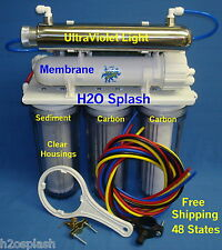 7 Stage! RO+DI+UV 80gpd Reverse Osmosis System Water Filter Clear NT H2O Splash
