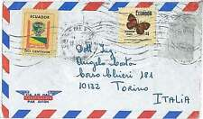BUTTERFLIES - STAMPS on COVER - ECUADOR to ITALY
