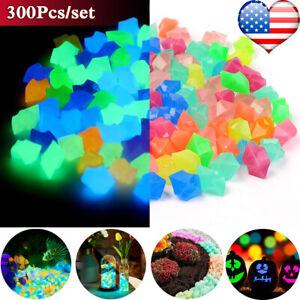 300PCS Glow in The Dark Pebbles Garden Luminous Stones Rocks Fish Tank Decor