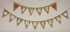 Wedding Just Married Hessian Party Bunting Wedding  Banner