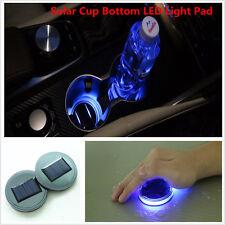 2pcs Solar Cup Holder Bottom Pad Mat Blue LED Light Trim For All Cars All models