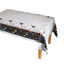 Disposable Plastic Tablecloth Doctorial Hat Table Cover Graduation Party Deco JF