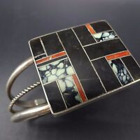 Vintage NAVAJO Sterling Silver CORAL JET & TURQUOISE Channel Inlay Cuff BRACELET