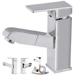 Wasserhahn Armatur Waschbecken Badarmatur mit herausziehbarer Handbrause W84