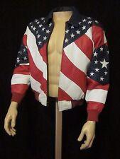 Michael Hoban Wheremi Stars & Stripes American Flag Leather Bomber Jacket Small