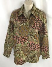LEMON GRASS Tan Brown Paisley Suede Feel Long Sleeve Shirt Top size small S