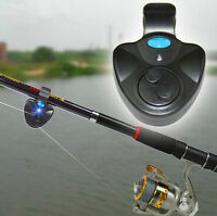 Electronic LED Light Fish Bite Sound Alarm Alert Bell Clip On Fishing Rod
