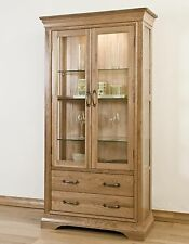 Marseille Solid French Oak Furniture Glazed Display Cabinet Cupboard