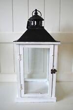 Laterne Holz Windlicht eckig weiß ca.53cm Deko Shabby Metall-Dach Lampe Garten