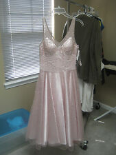 Size 8 SUE WONG Nocturne Pink/Rose Dress Beaded Sequin Bridal Wedding N-5114