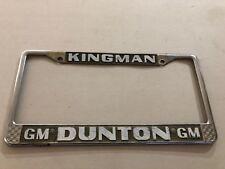Vintage License Plate Frame Kingman Dunton GM