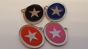 Laser Engraved Stainless Steel Dog ID tag STAR logo 6 colours