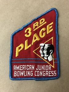 Vtg AJBC 3rd Place Sew On Embroidered Patch Junior Bowling Congress Badge