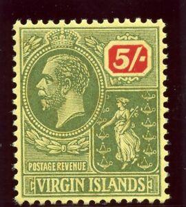 British Virgin Island 1923 KGV 5s green & red/yellow superb MNH. SG 101. Sc 66.