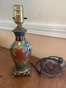 Vintage Cloisonne Table Lamp Chinese Red And Floral