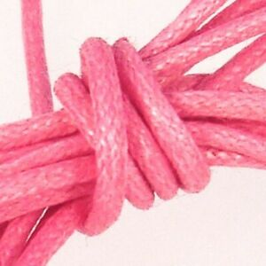 Waxed Cotton Cord : 0.5mm : Pink : 100 metre reel
