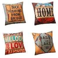 """18x18"""" Retro Design Pillowcase Cotton Linen Throw Cushion Cover Home Sofa Decor"""