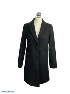Top Shop Black Crombie Style Overcoat Size 8 Winter Autumn Casual Work Layering