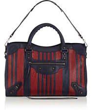 BALENCIAGA Classic City Bag in Marine/Bordeaux Stripes Arena Leather