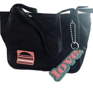 Marc Jacobs Nylon/Leather Sport Tote in Black with Pink logo & LOVE tag on chain