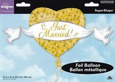 JUST MARRIED HEART & DOVES FOIL BALLOON WEDDING PARTY DECORATION GOLD AND WHITE