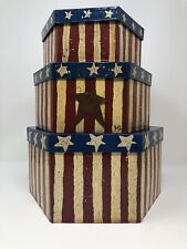 Set Of 3 Patriotic Stacking Boxes Very Cute 4th Of July Stars Red Blue Beige