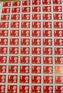 66 x 1st Class Large Letter Security Unfranked Stamps With Gum Self Adhesive