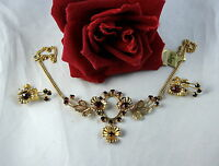 Vintage Red Rhinestone Gold tone  Necklace  & Earrings  Set  CAT RESCUE