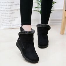 Women Spring Winter Flat Shoes Warm Furry Lining Snow Ankle Boots Black Brown
