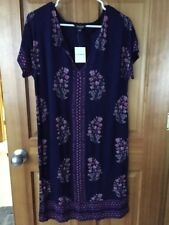 NWT Lucky Brand Printed Tee Dress, Medium, Women's, Blue, 7W90372