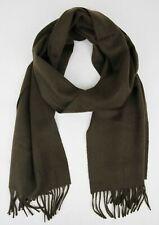 $475 Burberry Olive/Brown Cashmere Scarf w/Fringe and Embroidered Logo 39964361