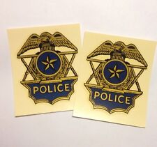 2 POLICE  HELMET DECAL BLUE BUCO SUPER SEER BMW HARLEY KAWASAKI HONDA MOTORCYCLE