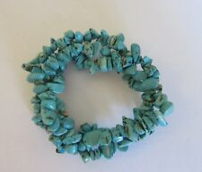 Fashion  Bracelet-stretchy- turquoise stones - 3 braided strands