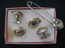BARCLAY GOLD TONE CLIP EARRINGS,CUFF LINKS & PIN SET IN PART OF ORIGINAL BOX