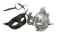 Black Majestic Swan Couples Set Venetian Costume Wedding Masquerade Mask
