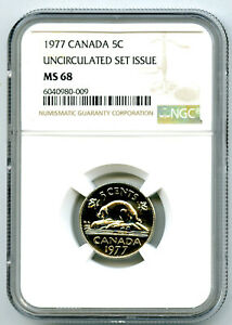 1977 CANADA 5 CENT NICKEL NGC MS68 UNCIRCULATED SET ISSUE RARE POP ONLY 7