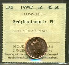 Test Token 1999P Canada One Cent ICCS Certified MS-66; RED NBU