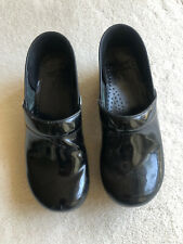 Dansko Womens EU 40 US 10 Black Patent Leather Mules Clogs Non Slip Comfort