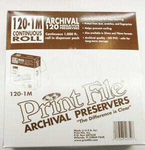 120-1M (1000') PrintFile Archival 120 Uncut Roll - Negative Preservers - NEW F23
