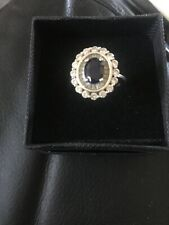Ladies Beautiful DIAMONIQUE 925 Silver CZ & Blue Stone Ring Size K 1/2 Used