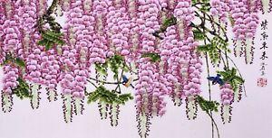 HANDPAINTED ORIENTAL FINE ART CHINESE WATERCOLOR PAINTING-Flowers&birds lover